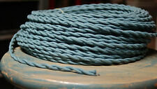 Blu Ardesia intrecciata PANNO Covered filo, vintage Lampada Cavo, ANTICO LUCI