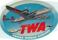 TWA ~TRANS WORLD AIRLINE~ Vibrant Luggage Label --  ORIGINAL & MINT, c. 1955