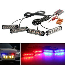 4x Car 6LED Red/Blue Police Strobe Flash Light Dash Emergency Warning Lamp Kit