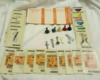 Vintage 1956 Clue Board Game Replacement Playing Pieces Cards Tokens Wood Pawns