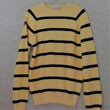 Lord Jeff Mens Sweater S Yellow Striped Cotton USA Made Vintage