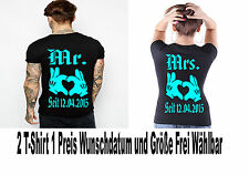 Mr Mrs T Shirt 2 Stück Partner Look Relationship Pärchen Couple Love XS - XL New