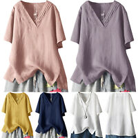 Women's Casual Summer Loose Tunic Tops Ladies Short Sleeve Baggy T-Shirt Blouse