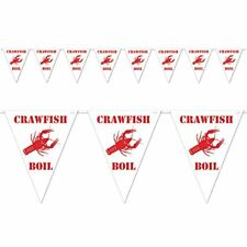 Beistle Crawfish Boil Pennant Banner, 10 by 12-Feet, White/Red, Party Supply