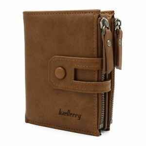 Luxury Quality Genuine Leather Mens Trifold Wallet Card Holder Zip Coin Purse UK