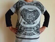 Ladies Anmol Grey Top 3/4 Sleeves & Love / Rhinestone Heart Detail - One Size