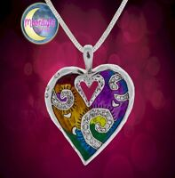 New Heart Colorful Enameled Womens Pendant Necklace