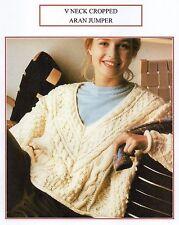 VINTAGE KNITTING PATTERN - LADY'S V NECK CROPPED ARAN JUMPER - ARAN - PDF copy