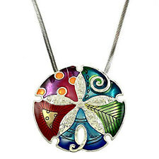 "Gorgeous Large Enameled Sand Dollar Pendant Necklace on 21"" Snake Chain"