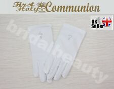 First Holy Communion Flower Girls Wedding Pageant Diamanté Cross Gloves Veil
