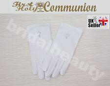 First Holy Communion Flower Girls Wedding Pageant Diamanté Cross Gloves Veil
