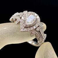 1.25 Ct Pear Cut Diamond 14k White Gold Finish Halo Vintage Engagement Ring