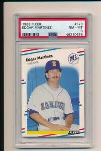 EDGAR MARTINEZ SEATTLE MARINERS 1988 FLEER #378 PSA 8 ROOKIE HOF BASEBALL CARD