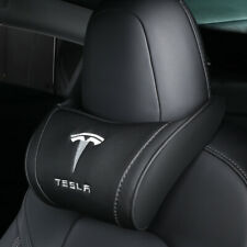1Pc Black Tesla Car Seat Neck Headrest Pillow Memory Foam Leather Embroidery