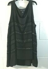 Black Tank ROCK & REPUBLIC Studded size Small S SM High-Low BLOUSE Top Shirt