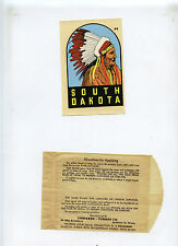 Vintage Lindgren Turner Decal South Dakota Chief Circa 1960s