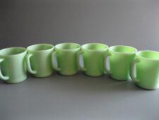 "Six Fire King Jadite Restaurant Ware Mugs / Cups "" Excellent """