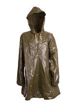 Poncho Waterproof Rubberized PVC Olive Green Hood Glastonbury NEW VTG Ex Army