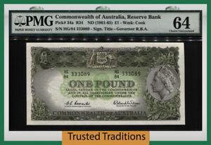 TT PK 34a 1961 COMMONWEALTH OF AUSTRALIA 1 POUND PMG 64 CHOICE STUNNING DESIGN!
