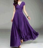 Women Girls Long Evening Prom Party Bridesmaid Chiffon Ball Gown Cocktail Dress