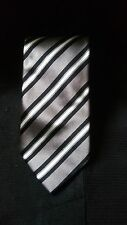Ralph LAUREN PURPLE LABEL Krawatte grau schwarz Repp Streifen gestreift Seidenkrawatte