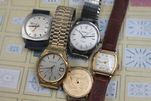 5 Watch Lot Voumard Back Wind Accutron Benrus NOS Case for Repair