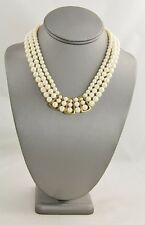 80s VINTAGE Jewelry HIGH END IMITATION PEARL TRIPLE STRAND NECKLACE -`16""