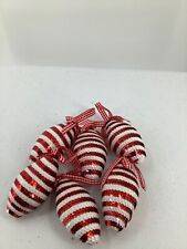 6 Red White Sequin Cone Shaped Ornaments Ginham Ribbon Buttons