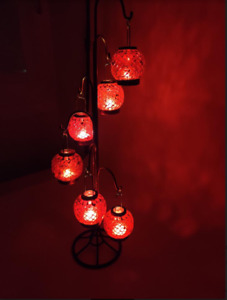 Iron Lantern, 6 Mosaic Glass Candle Holders, Orange & Red with Gold Accents