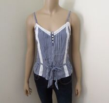 Abercrombie Womens Striped Lace Top Shirt Size Small Blue & White