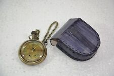 Battery Powered Hand Made Antique London Pocket Watch With Leather Case Pouch