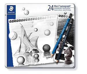 Estuche Metal 24 STAEDTLER Mars Lumograph Lápices De Diseño 20 Gradaciones