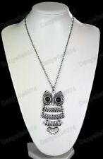 BIG ARTICULATED OWL PENDANT NECKLACE long chain BLACK EYES antique silver pl