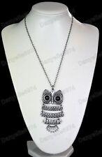Big articulé hibou collier pendentif chaîne longue yeux noirs argent antique pl