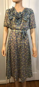 1930s-40s Rayon (?) Print Dress- Great Condition!
