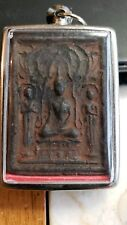 OLD THAILAND BUDDHIST AMULET IN STAINLESS STEEL CASE