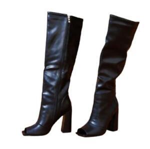 Women Faux Leather Zip Up Open Toe High Heel Clubwear Knee High Boots 41 42 43 L