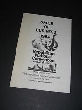 Republican 33rd National Convention Dallas Texas 1984 Order Of Business Pamphlet