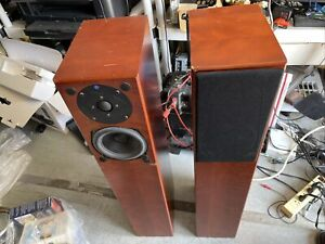 Totem Staff Floor Standing Speakers  Shows Wear Missing One Grill Good Sound