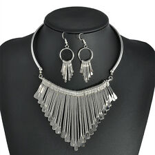 Charm Women Elegant Party Prom Tassel Chain Necklace Earrings Jewelry Set Gift