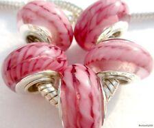 5PCS Silver Single Core Murano Lamp Glass Beads fit European Charm Bracelet A082