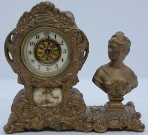 Antique 1891 WATERBURY Gilt Figural Victorian Art Nouveau Mantel Shelf Clock