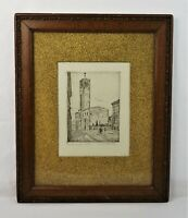 "Antique German Etching in Wood and Gesso Victorian Picture Frame Fits 14"" x 11"""
