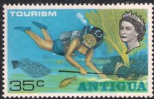 Antigua 1968 QE2 35ct Underwater swimming Tourism Umm SG 219 ( H1089 )