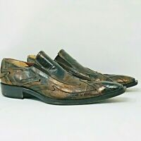 JO GHOST Mens EU 44 US 10.5 Black Bronze Reptile Leather Loafer Dress Shoes RARE