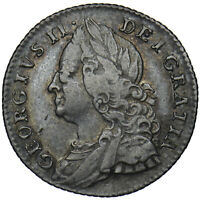 1757 SIXPENCE - GEORGE II BRITISH SILVER COIN