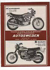 Pubblicità 1972 KAWASAKI SUZUKI 750 MOTO MOTOR advertising werbung publicitè