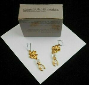 GORGEOUS AVON CHARMING DANGLE PIERCED EARRINGS GOLDTONE SURGICAL STEEL POSTS NOS