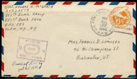 UNITED STATES ARMY CENSORED EMBOSSED 6c AIRMAIL COVER DATED JULY 27, 1944