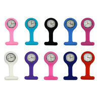Fashion Silicone Nurses Brooch Tunic Fob Medical Watch Free Battery 10 Colours